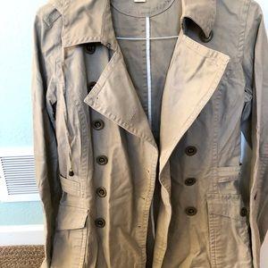 Woman's hooded khaki trench coat